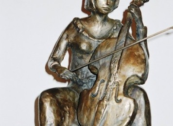 GIRL PLAYING CELLO - Bronze 32X21X16